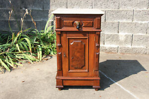 Burl Walnut Victorian Renaissance Revival Marble Top Half Commode Nightstand