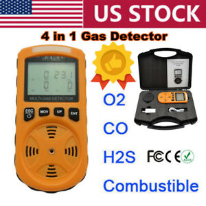 4 In 1 Gas Detector Co O2 H2s Oxygen Lel Gas Monitor Testing Analyzer Meter Usa