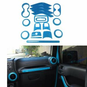 18x Interior Accessories Front Rear Decoration Trim For Jeep Wrangler Light Blue