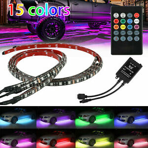 4pcs 15color Led Strip Under Car Tube Underglow Underbody System Neon Lights Kit
