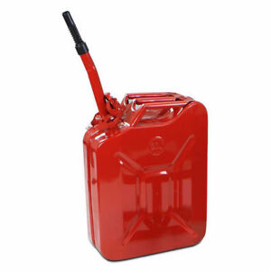 Red Steel 20 liter 5 gallon New Gas And Fuel Military Spouted Jerry Can Tank