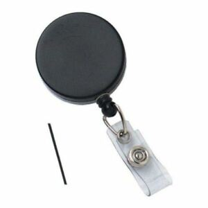 New Black Heavy Duty Badge Reel With Nylon Wire Cord Free Shipping