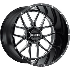 20x10 Black Milled Tuff T23 Wheels 6x135 19 Lifted Fits Ford Expedition