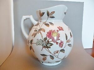 Shlf Large Antique Victorian Transfer Stafforshire Pottery Jug Pitcher 11 X 8