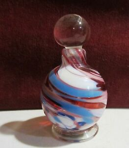 Hand Blown Art Deco Multi Color Perfume Bottle With Dauber