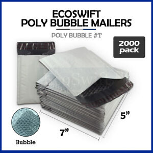 2000 t 5x7 Self Seal Poly Bubble Mailers Padded Shipping Envelopes Bags 5 X 7