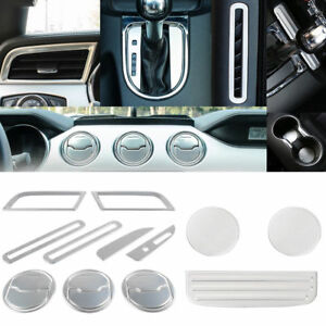 18x Silver Aluminum Interior Accessories Trim Covers For Ford Mustang 2015 2019