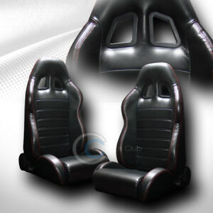 Universal Sp Black Pvc Leather Red Stitch Racing Bucket Seats W sliders L r C01