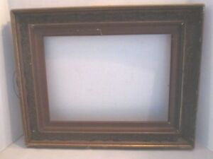 Vintage Antique Wood Frame With Gold Gesso Embossed Scrolls 19 5 X 16