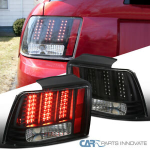 Fit 99 04 Ford Mustang Black Sequential Led Signal Tail Lights Brake Lamps Pair