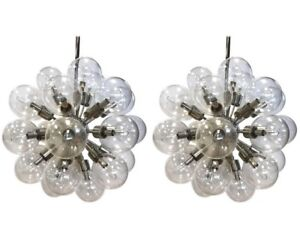 Pair Of Lightolier Sputnik Chandeliers Mid Century Modern 30 Glass Globes Wow