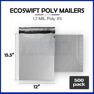 500 12x16 White Poly Mailers Shipping Envelopes Self Sealing Bags 1 7 Mil