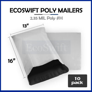 10 13x16 White Poly Mailers Shipping Envelopes Self Sealing Bags 2 35 Mil