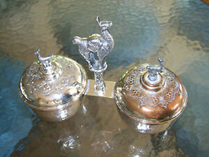 Llama Handled Silver Covered Double Condiment Dish Set Sauce Tureen Sweet