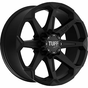 22x10 Flat Black Tuff T05 Wheels 6x135 6x5 5 20 Lifted Fits Cadillac Escalade