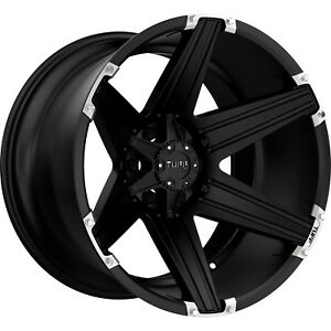 24x11 Black Tuff T12 Wheels 6x5 5 45 Lifted Fits Honda Passpor