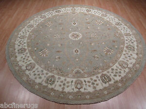 8 Feet Round 8x8 Muted Persian Vegetable Dye Handmade Knotted Wool Rug 582904