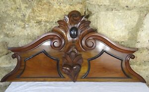 34 French Antique Pediment Hand Carved Architectural Walnut Wood Crest Fronton
