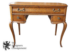 Early 20th C Antique Oak Victorian Empire Ladies Writing Desk Vanity Serpentine