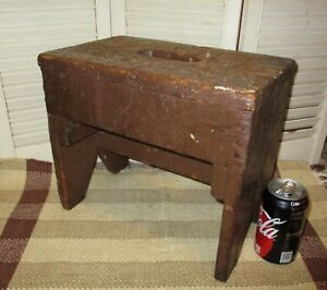 Antique Cricket Bench Primitive Footstool Old Brown Paint Lots Of Age