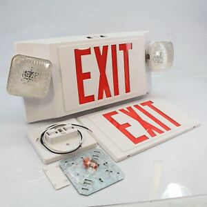 New Astralite L e d Exit Sign Emergency Light Combination Unit Eeu 2 16 led r w