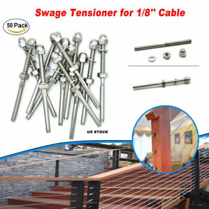 50pcs T316 Stainless Steel Hand Swage Tensioner For 1 8 Cable Railing Systems
