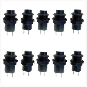 12mm Black Mini Push Button Switch On off Latching 3a 125vac 1 5a 250vac