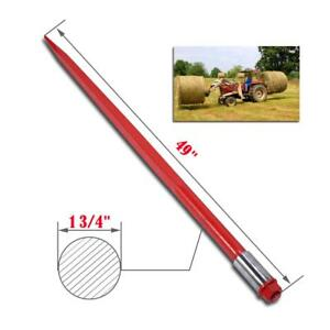 49 2000 Lbs Hay Spears Nut Bale Spike Fork Tine Red Pair Steel Attachment