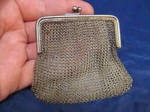 Antique Sterling Silver Mesh Coin Purse Bag Hallmarked Birmingham 1916 H