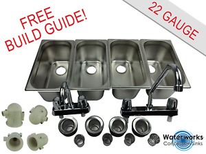 4 Compartment Sink Set With Traps Hand Washing Concession Food Trailer Stand