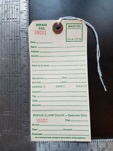 Repair Tags 100 Count 6 1 4 X 3 1 8 Reinforced Consecutively Numbered Manila