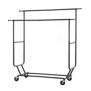 Black Collapsible Clothing Rolling Double Garment Rack Hanger