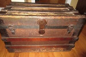 Late 1800 S Flat Top Steamer Trunk Contents