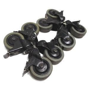 lot Of 8 Industrial Casters 3 X 1 Medium heavy Duty Swivel And Lock Function