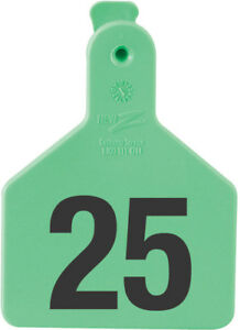Z Tags Calf Ear Tags Green Numbered 1 25