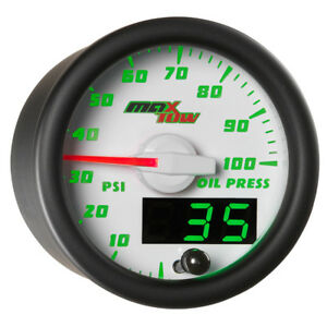 52mm White Maxtow Double Vision Oil Pressure Psi Gauge Green Digital Analog