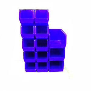 lot Of 13 Uline Blue Plastic Stackable Bins S 14454 10 And S 12421 3