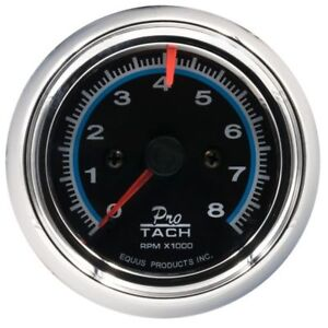 Equus 2 1 2 Inch Tachometer Black Faced Chrome Bezel 0 8000 Rpm Equus 6076