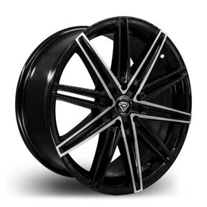 17 Inch Black Machine White Diamond 3250 Wheel Rims Tires Fits 4x100