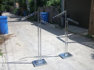 Two Adjustable Chrome Coat Racks Department retail Store Grade Local Pickup Only