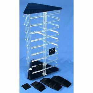 3 Sided Rotating Revolving Jewelry Display Stand With 100 2 Black Earring Cards