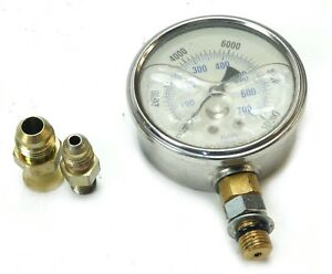 2 1 2 Liquid Filled High Pressure Gauge 10000 Psi Lower Mount With Adapters
