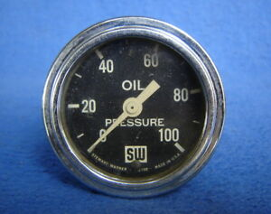 Vtg stewart Warner 100 Psi Oil Pressure Gauge hot Rod ford chevy mopar Part