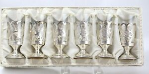 Vintage Sterling Silver Stemmed Cordials W Glass Inserts Set Of 6