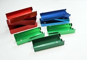 Lot 9 Rolled Coin Trays Mmf Industries Red Blue Green Metal