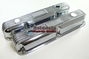 Vintage Sb Mopar Finned Polished Aluminum Valve Cover Chrysler 318 340 360 Rod