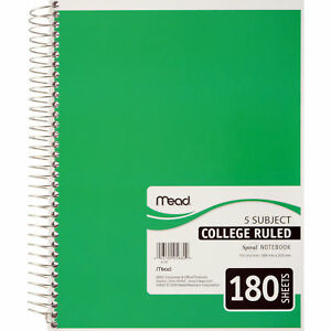 Meadwestvaco 05682 10 1 2 X 8 5 Subject Spiral Bound Notebook Assorted Colors