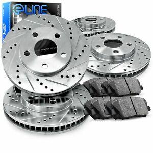 For 2013 2017 Honda Accord Front Rear Drill Slot Brake Rotors Ceramic Brake Pads