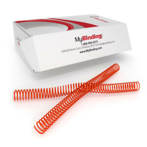 New 23mm College Orange 4 1 Pitch Spiral Binding Coil 100pk Free Shipping