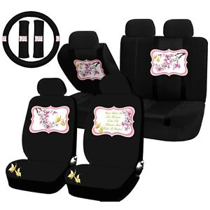 22pc Cherry Blossom Yellow Butterfly Seat Covers Steering Wheel Set Universal